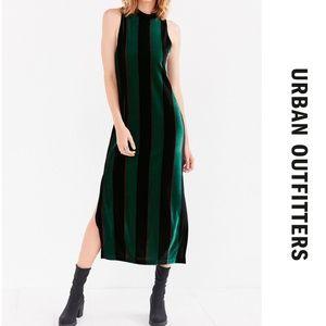 NWT Madison Green Velvet Striped Maxi Dress UO